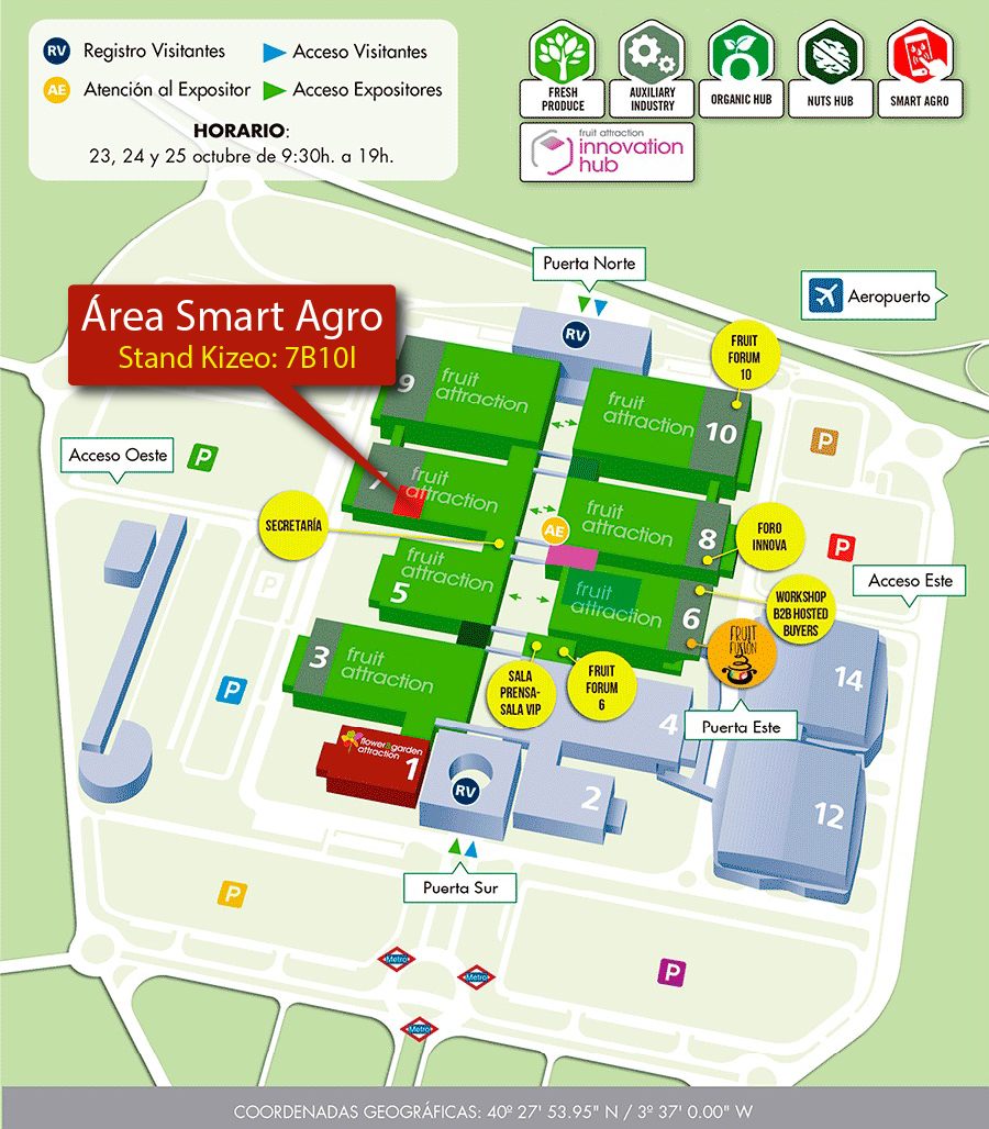 Plano de la feria Fruit Attraction y stand Kizeo